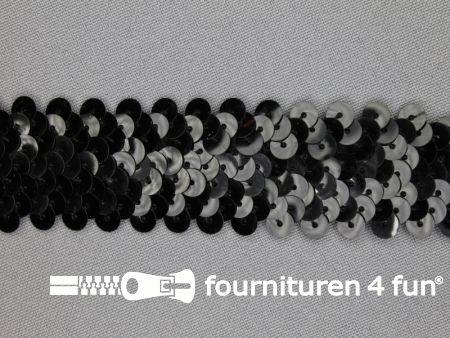 Elastische pailletten band 30mm zwart