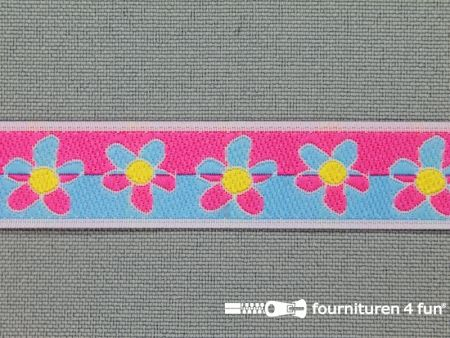 Kinderband 15mm bloemetjes licht blauw - roze