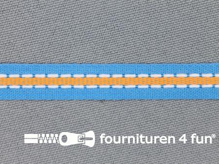 Modern band 8mm stippellijn aqua blauw - oranje