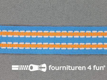 Modern band 15mm stippellijn aqua blauw - oranje