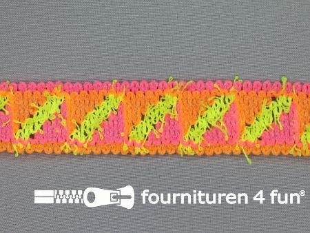 Modern band 30mm neon oranje - roze - geel