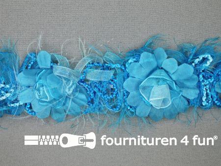 Bloemenkant 40mm aqua blauw