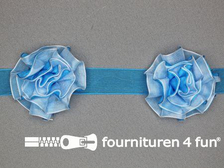 Bloemenkant 60mm aqua blauw