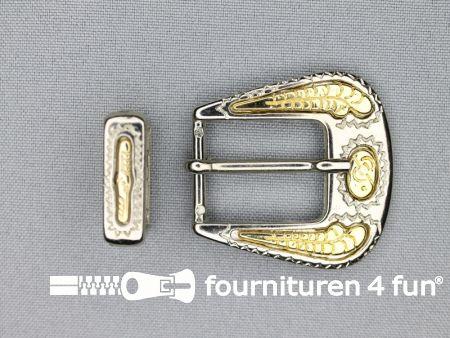 Metalen siergesp 20mm zilver - goud