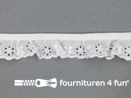 Broderie kant plissé 25mm wit