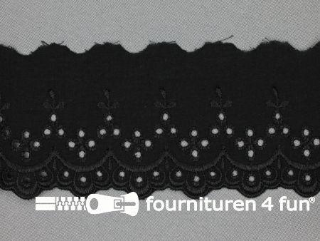 Broderie kant 70mm zwart