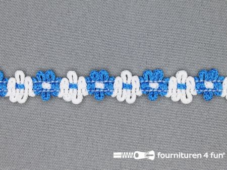 Bloemenkant 12mm wit - aqua blauw