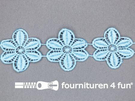 Bloemenkant 48mm aqua blauw