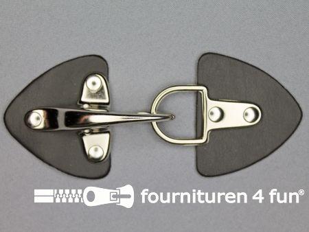 Siersluiting leer 55x130mm zwart - zilver