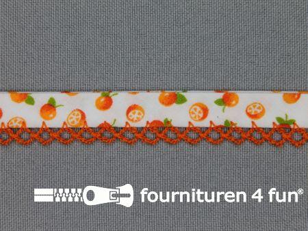 Deco biasband print 12mm fruit oranje - wit
