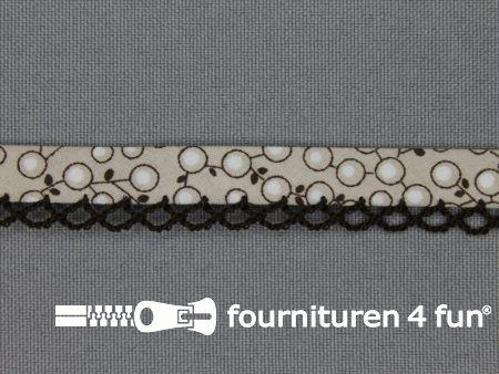 Deco biasband print 12mm kersen zwart - taupe