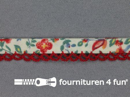 Deco biasband print 12mm bloemen rood ecru