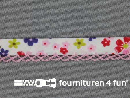 Deco biasband print 12mm bloemen licht roze