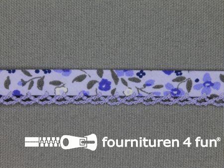 Deco biasband print 12mm bloemen lavendel