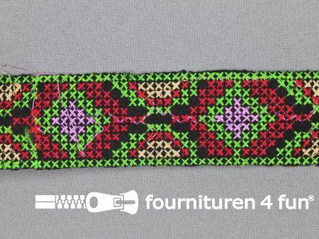 Jacquard band 35mm lime groen - rood