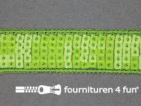 Pailletten band 22mm lime groen