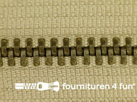 Deelbare bronzen rits 5mm donker beige