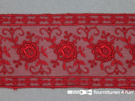 Valenciennes kant 50mm rood