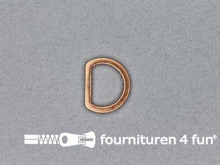 D-ring 16mm rosé koper plat