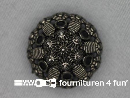 Zwart zilveren knoop 28mm schild