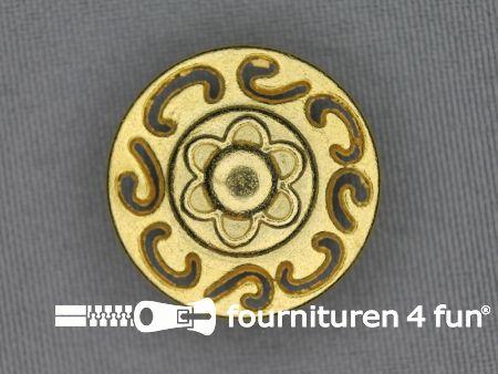 Gouden knoop 25mm bloem