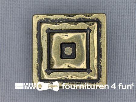 Gouden knoop 22mm vierkantjes