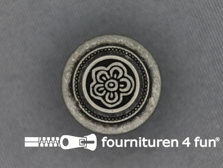 Zilveren knoop 20mm bloem