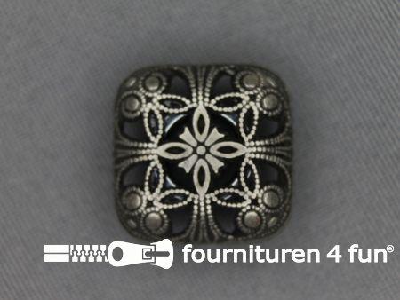 Zilveren knoop 20mm barok