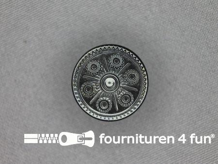 Zwart zilveren knoop 20mm folklore