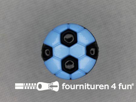 Kinder knoop 13mm voetbal aqua blauw