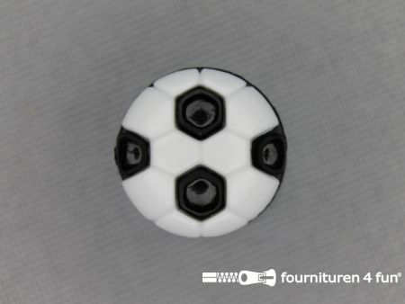 Kinder knoop 13mm voetbal wit