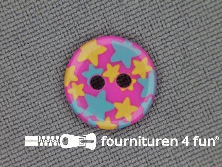 Kinder knoop 12mm ster roze - blauw - geel
