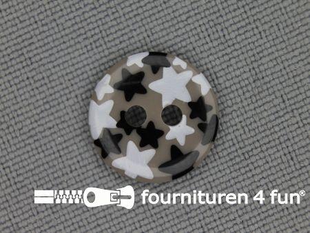 Kinder knoop 12mm ster zand - wit - zwart