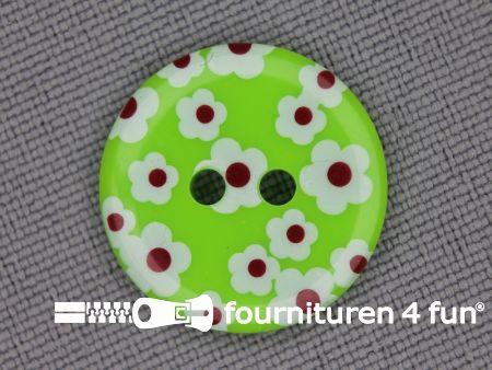 Kinder knoop 18mm bloem lime groen - wit