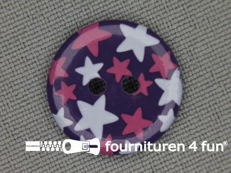 Kinder knoop 18mm ster paars - wit - roze