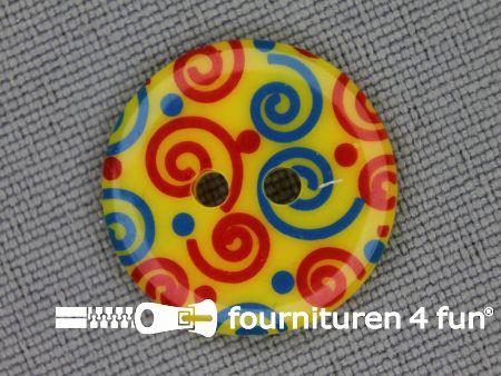 Kinder knoop 18mm krul geel - blauw - rood
