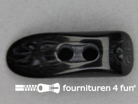 Houtje touwtje knoop 45mm kunststof zwart