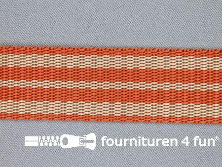 Gestreept tassenband 30mm donker oranje - beige