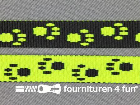 Parachute band 15mm zwart - neon geel pootjes