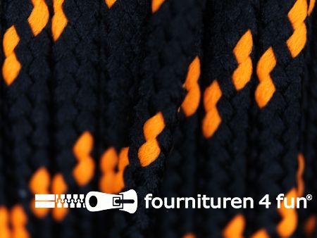 Jassen koord 5mm zwart - neon oranje