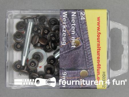 Siernieten 9mm rood brons 24 stuks