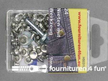Siernieten 9mm zilver 24 stuks