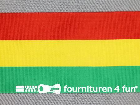 Carnavals lint 40mm rood, geel en groen