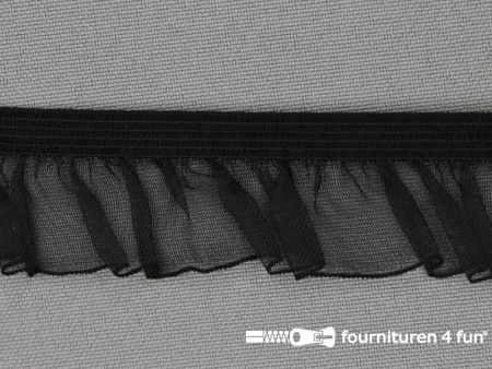 Elastisch ruche band 25mm zwart