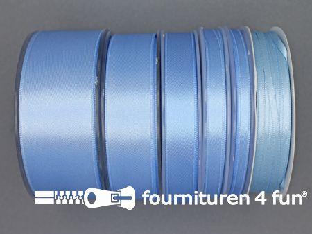Rol 25 meter satijn lint 9mm licht blauw