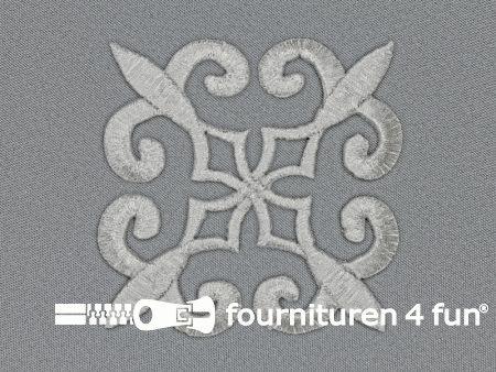 Barok applicatie 85x85mm zilver