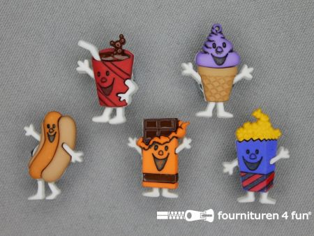 Fun knopen set fastfood poppetjes