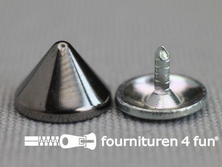 Studs 10mm kegel zwart zilver 10 stuks
