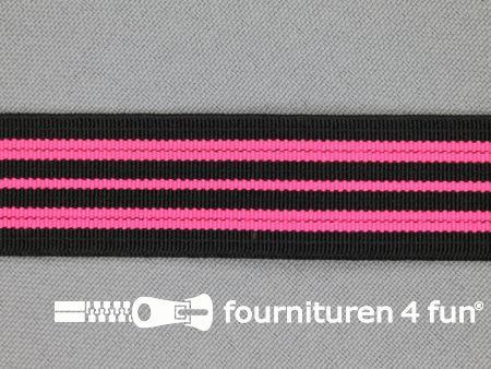 Gekleurd elastiek 20mm zwart - neon roze