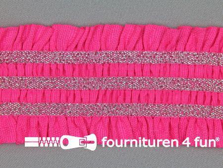 Gekleurd elastiek 50mm ruche neon roze